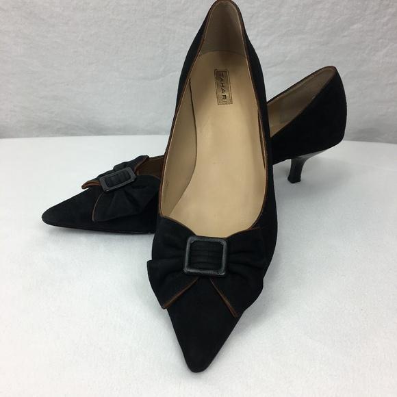 Tahari scarpe Suede Nero With marrone Trim Heel Poshmark
